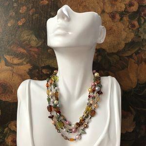 Vintage Multi Natural Stone Super Long Necklace